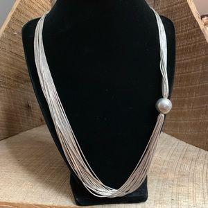 Vtg Carolyn Pollack Liquid Silver Necklace w/ Ball